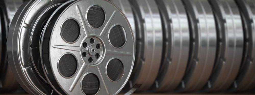 Video, cinema, movie, multimedia concept. A row of vintage film